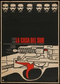2t033 LA CASA DEL SUR Mexican poster 1975 The House in the South, wild gun art and serious man!