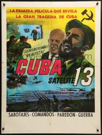 2t013 CUBA SATELITE 13 South American 1963 cool close-up art of Fidel Castro, completely different!