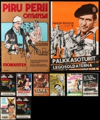 2y589 LOT OF 13 MOSTLY UNFOLDED FINNISH 16x24 POSTERS 1960s-1980s a variety of movie images!