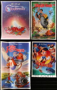 2y683 LOT OF 47 UNFOLDED DISNEY RE-RELEASE MINI POSTERS 1990s Cinderella, Jungle Book & more!