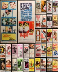 2y639 LOT OF 44 MOSTLY UNFOLDED INSERTS 1960s great images from a variety of different movies!