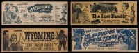 2y013 LOT OF 4 WILLIAM 'WILD BILL' ELLIOTT 4X11 TITLE STRIPS 1940s Hellfire, Wyoming & more!