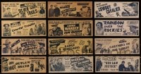 2y011 LOT OF 12 JIMMY WAKELY 4X11 TITLE STRIPS 1940s all from singing cowboy western movies!
