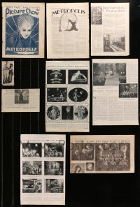 2y001 LOT OF 9 METROPOLIS NEWSPAPER AND MAGAZINE PAGES 1927 great images & articles, Fritz Lang!