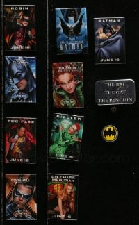 2y430 LOT OF 11 BATMAN MOVIES PIN-BACK BUTTONS 1990s great images of heroes & villains!