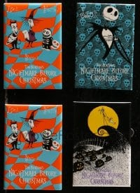 2y443 LOT OF 4 NIGHTMARE BEFORE CHRISTMAS PIN-BACK BUTTONS 1993 great cartoon character images!