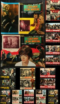 2y624 LOT OF 26 FORMERLY FOLDED ITALIAN 19x27 PHOTOBUSTAS 1970s-1980s a variety of movie scenes!