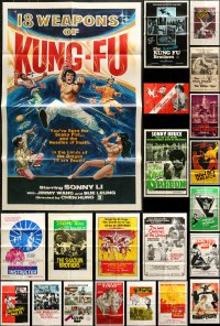 2y043 LOT OF 60 FOLDED KUNG FU ONE-SHEETS 1960s-1980s great images from martial arts movies!
