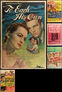 2y318 LOT OF 5 1940S ONE-SHEETS GLUED TO BOARDS 1940s great titles in MUCH lesser condition!