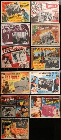 2y297 LOT OF 11 MEXICAN LOBBY CARDS FROM HUMPHREY BOGART MOVIES 1940s-1950s great scenes!