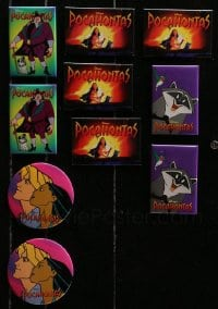 2y432 LOT OF 10 POCAHONTAS PIN-BACK BUTTONS 1995 Disney animation, cool character portraits!