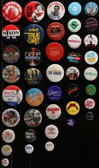 2y402 LOT OF 41 PIN-BACK BUTTONS 1970s-1990s great images from a variety of different movies!