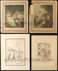 2y314 LOT OF 4 UNFOLDED ART PRINTS GLUED TO BOARDS 1910s ready to frame & hang on your wall!
