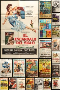 2y053 LOT OF 47 FOLDED SPANISH LANGUAGE ONE-SHEETS 1960s-1970s a variety of movie images!