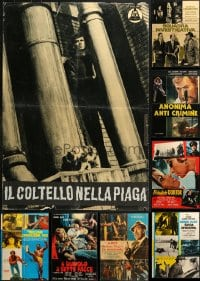 2y615 LOT OF 10 FORMERLY FOLDED 27x37 ITALIAN PHOTOBUSTAS 1960s-1980s a variety of movie scenes!