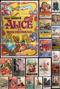 2y050 LOT OF 49 FOLDED ONE-SHEETS 1950s-1960s great images from a variety of different movies!