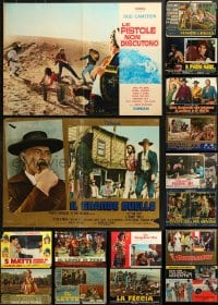 2y627 LOT OF 24 FORMERLY FOLDED 19x27 ITALIAN PHOTOBUSTAS 1960s-1970s a variety of movie scenes!