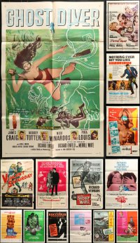2y068 LOT OF 18 FOLDED ONE-SHEETS 1950s-1970s great images from a variety of different movies!
