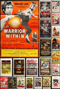 2y052 LOT OF 48 FOLDED KUNG FU ONE-SHEETS 1960s-1980s great images from martial arts movies!
