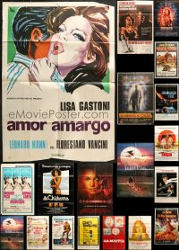 2y059 LOT OF 38 FOLDED SPANISH LANGUAGE ONE-SHEETS 1960s-1990s a variety of movie images!