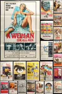 2y047 LOT OF 53 FOLDED ONE-SHEETS 1950s-1970s great images from a variety of different movies!