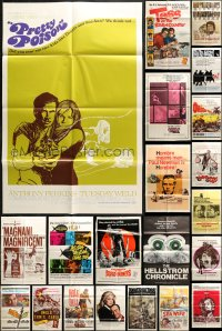 2y064 LOT OF 25 FOLDED ONE-SHEETS 1960s-1970s great images from a variety of different movies!