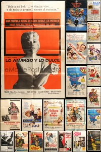 2y055 LOT OF 44 FOLDED SPANISH LANGUAGE ONE-SHEETS 1960s-1990s a variety of movie images!