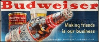 2z066 BUDWEISER billboard 1950s Making friends is our business, great art of giant beer bottle!