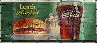 2z067 COCA-COLA billboard 1949 great artwork of hamburger on plate next to glass of soda pop!