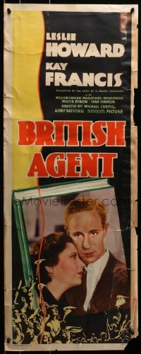 2z001 BRITISH AGENT insert 1934 Michael Curtiz directed, Leslie Howard, Kay Francis, ultra rare!
