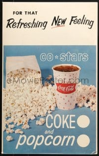 2z046 COCA-COLA COKE & POPCORN soft drink sales posters 1960s cool lobby displays!