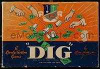 2z238 DIG 8x11 board game 1940 use sticky wands to pull letters from a bag to spell words!