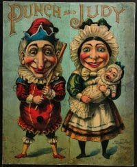 2z041 PUNCH & JUDY 21x26 stage poster 1902 great art of the famous English fighting marionettes!