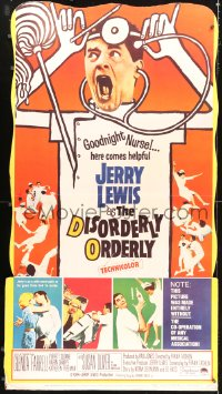 2z093 DISORDERLY ORDERLY style Y standee 1965 artwork of wackiest hospital nurse Jerry Lewis!