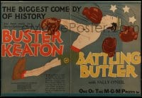 2z035 BATTLING BUTLER trade ad 1926 John Held Jr. art of boxer Buster Keaton getting knocked out!