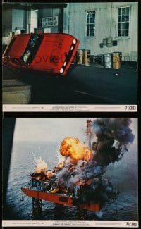3a073 DIAMONDS ARE FOREVER 2 8x10 mini LCs 1971 James Bond 007, car stunt and oil rig explosion!