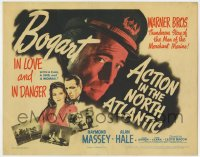 3b028 ACTION IN THE NORTH ATLANTIC TC 1943 great c/u of Humphrey Bogart + sexy Julie Bishop!