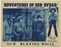 3b349 ADVENTURES OF RED RYDER chapter 8 LC 1940 Red Barry & Taliaferro w/ sheriff, Blazing Walls!