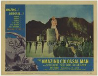 3b355 AMAZING COLOSSAL MAN LC #1 1957 Bert I. Gordon, special fx image of giant man at Hoover Dam!