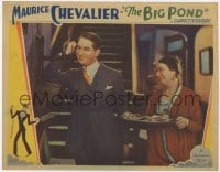 3b363 BIG POND LC 1930 close up of Maurice Chevalier smiling as he talks on the phone, ultra rare!