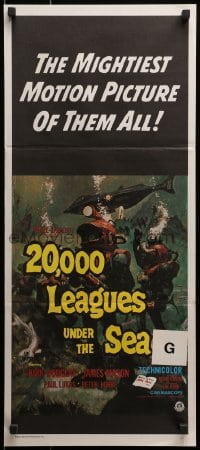 3c215 20,000 LEAGUES UNDER THE SEA Aust daybill R1970s art of Jules Verne's deep sea divers!