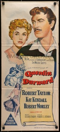 3c219 ADVENTURES OF QUENTIN DURWARD Aust daybill 1955 art of Robert Taylor & Kay Kendall!