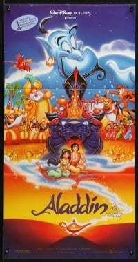 3c222 ALADDIN Aust daybill 1993 Walt Disney Arabian fantasy cartoon, Calvin Patton art of cast!