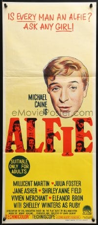 3c223 ALFIE Aust daybill 1966 British cad Michael Caine loves them and leaves them, ask any girl!