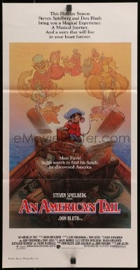 3c226 AMERICAN TAIL Aust daybill 1986 Steven Spielberg, Don Bluth, art of Fievel by Drew Struzan!