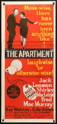 3c229 APARTMENT Aust daybill 1960 Billy Wilder, Jack Lemmon, Shirley MacLaine, cool key-in-lock art!