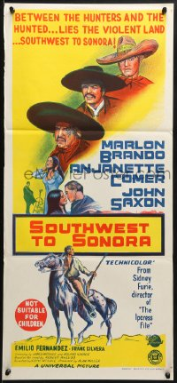 3c230 APPALOOSA Aust daybill 1966 art of Marlon Brando, Southwest to Sonora!