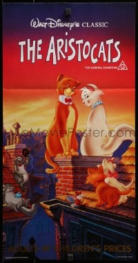 3c231 ARISTOCATS Aust daybill R1986 Walt Disney feline jazz musical cartoon, great colorful image!