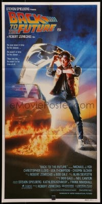 3c234 BACK TO THE FUTURE Aust daybill 1985 art of Michael J. Fox & Delorean by Drew Struzan!