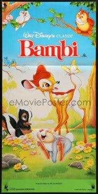 3c235 BAMBI Aust daybill R1991 Walt Disney cartoon deer classic, great art with Thumper & Flower!